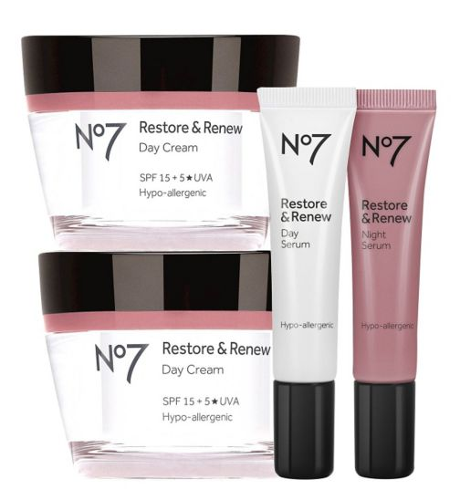No7 Restore &  Renew Day Cream 50ml;No7 Restore & Renew Day & Night Serum;No7 Restore & Renew Day & Night Serum 15ml x 2;No7 Restore & Renew Day Cream 50ml;No7 Restore & Renew Serum and Day Cream Regime Bundle