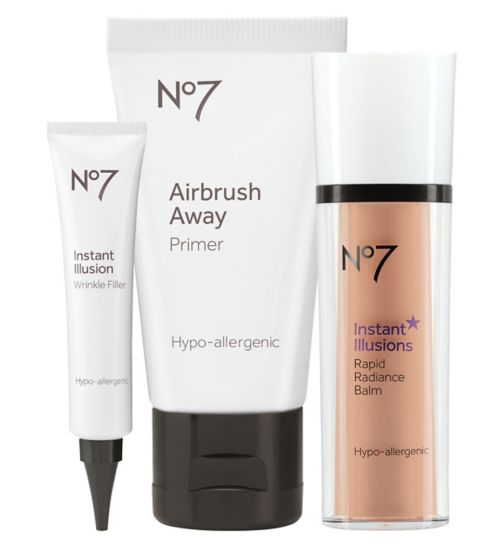 No7 Instant Illusions Airbrush Away Primer 30ml;No7 Instant Illusions Airbrush Away Primer 30ml ;No7 Instant Illusions Bundle;No7 Instant Illusions Rapid Radiance Balm;No7 Instant Illusions Rapid Radiance Balm;No7 Instant Illusions Wrinkle Filler 30ml;No7 Instant Illusions Wrinkle Filler 30ml