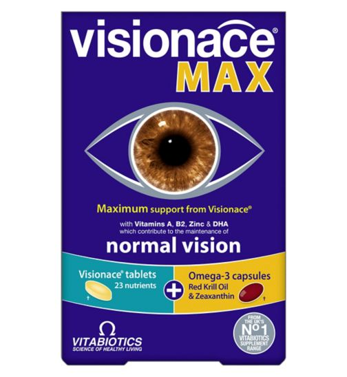 Visionace Max Dual Pack - 28 Visionace Original tablets + 28 Omega-3 DHA & Krill Oil Capsules