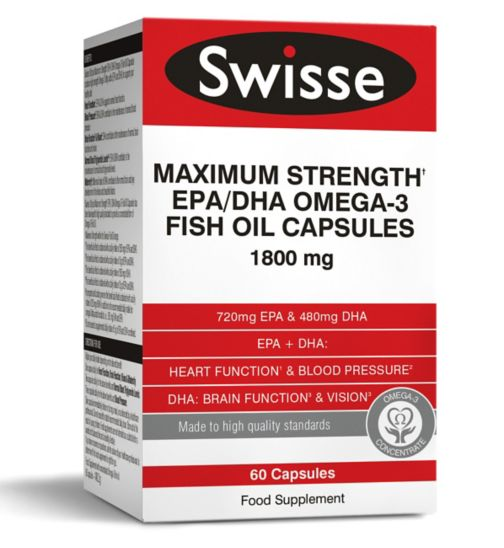 Swisse Ultiplus Maximum Strength EPA/DHA Omega-3 Fish Oil Capsules 1800mg - 60 capsules