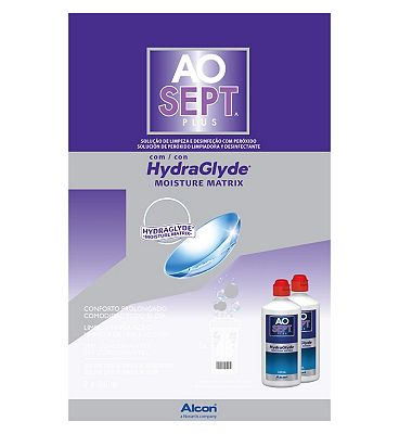AOSept HydraGlyde contact lens solution 360ml 2 pack