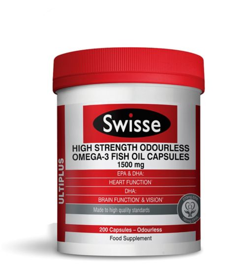 Swisse High Strength Odourless Omega-3 Fish Oil Capsules - 1500mg
