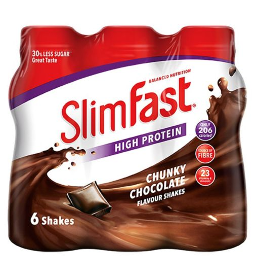 Slim-Fast Chunky Chocolate Flavour Shakes 6 x 325ml