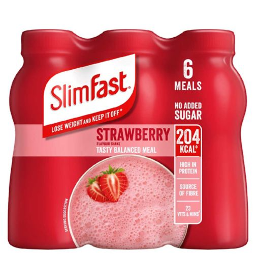 SlimFast Summer Strawberry Flavour Shakes 6 x 325ml (1.95L)