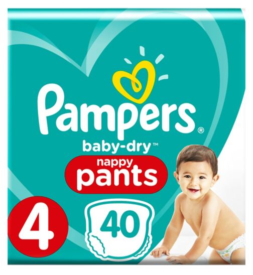 Pampers Baby-Dry Pants Size 4, 8-14Kg, 40 Nappy Pants