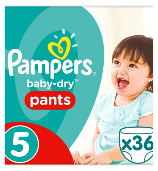 Pampers Baby-Dry Pants Size 5, 36 Nappy Pants, 12-18kg, Easy To Change