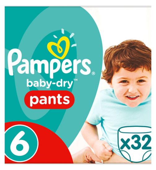 Pampers Baby-Dry Pants Size 6, 32 Nappy Pants, 16+kg, Easy To Change