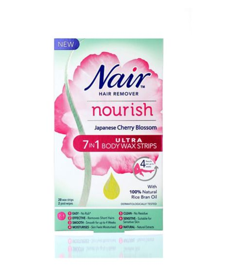 Nair Nourish Japanese Cherry Blossom 7 In 1 Ultra Body Wax Strips 20s