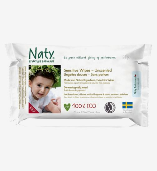 Naty by Nature Babycare Sensitive Wipes - Unscented 56 Wipes