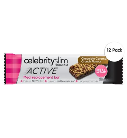 Celebrity Slim ACTIVE Caramel Crunch Meal Replacement Bar - 58g;Celebrity Slim ACTIVE Caramel Crunch Meal Replacement Bar x12;Celebrity Slim meal rplcmnt bractv crml