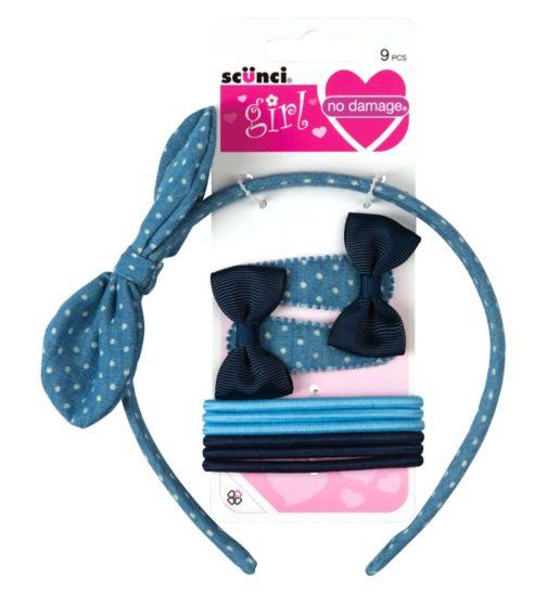 Scunci Girl Headband Mixed pack denim 9 Pack