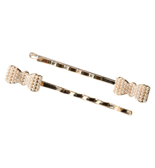 Scunci Style Slides Pearl Bow 2 Pack
