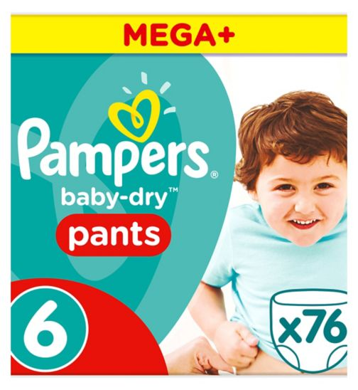 Pampers Baby-Dry Pants Size 6 Mega+ Pack 76 Nappies