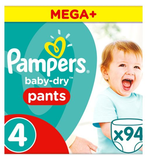 Pampers Baby-Dry Pants Size 4, 9-15Kg, 94 Nappy Pants
