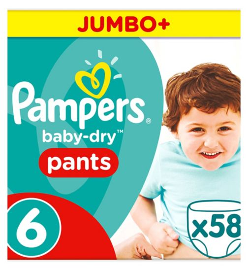 Pampers Baby-Dry Pants Size 6 Jumbo Box 58 Nappies