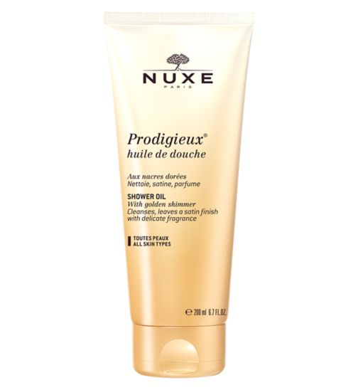 Nuxe Prodigieux shower oil with golden shimmer