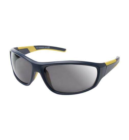 Boots Active Navy and Yellow Rubber Wrap Sports Sunglasses
