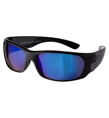 Boots Mens Shiny Black Wrap Sunglasses with Smoke Blue Lenses