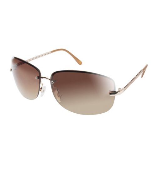 Boots Womens Rimless Sunglasses with Nude Tips