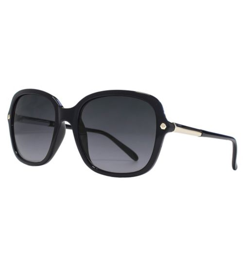 French Connection Woman Black Oversized Sunglasses with Hexagon Temple