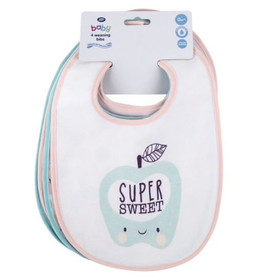 Boots Baby Weaning Bibs 4 Pack - Pink