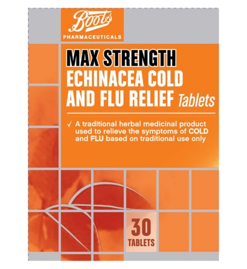 Boots Pharmaceuticals Max Strength Echinacea Cold and Flu Relief - 30 tablets