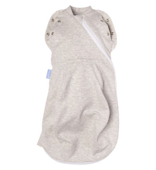 Gro-Snug Swaddle and Newborn Grobag - Grey Marl Light