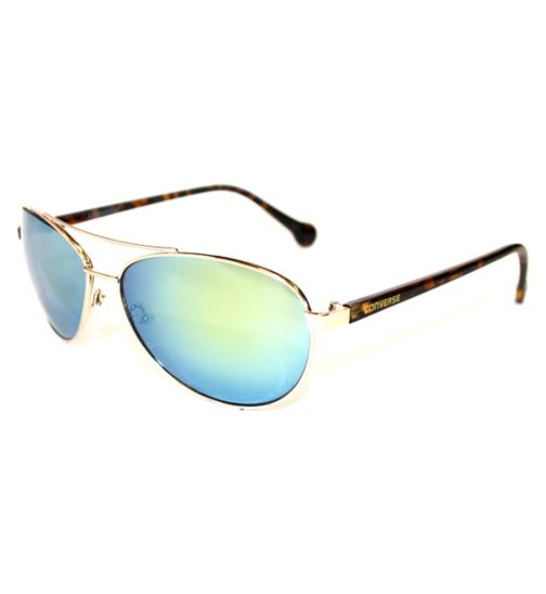 Converse Gold Metal Aviator with Tort Arms and Mirrored Lenses