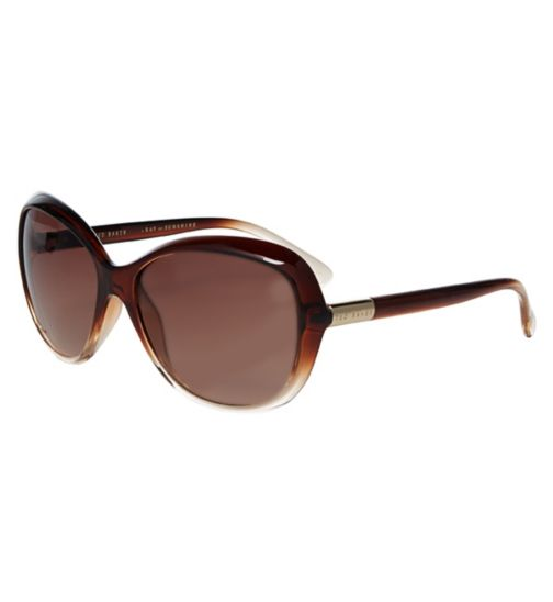 Ted Baker Ladies Brown Crystal Sunglasses with Smoke Gradient Lenses