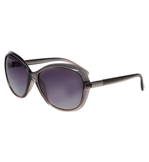 Ted Baker Ladies Grey Crystal Sunglasses with Smoke Gradient Lenses