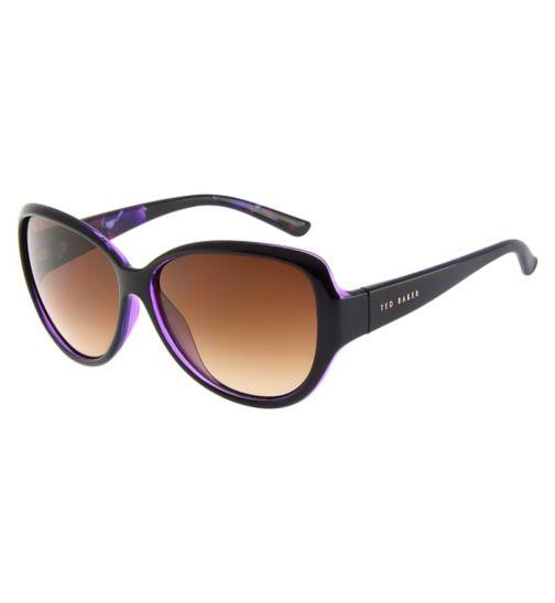 Ted Baker Ladies Black Frame Sunglasses with Signature Purple Pattern