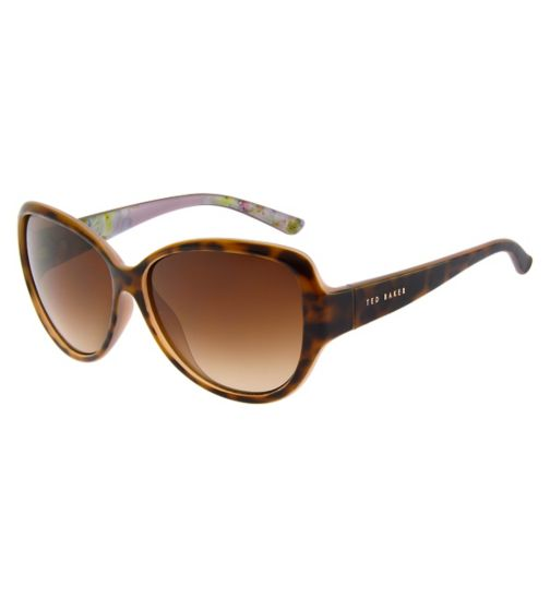 Ted Baker Ladies Tort Frame Sunglasses with Signature Pink Pattern