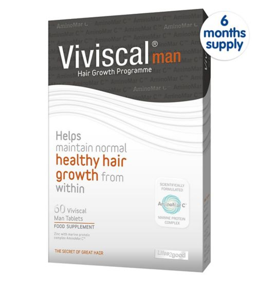 Viviscal Man Tablets Helps Maintain Normal Healthy Hair Growth 60 tablets;Viviscal Man supplements  -  60 tablets (1 month supply);Viviscal Man's supplements - 360s tablets 6 Month Supply