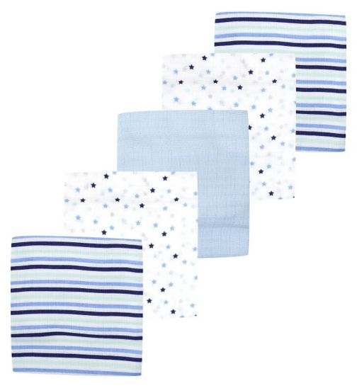 Mini Club Baby Boys Muslin Squares 5 Pack