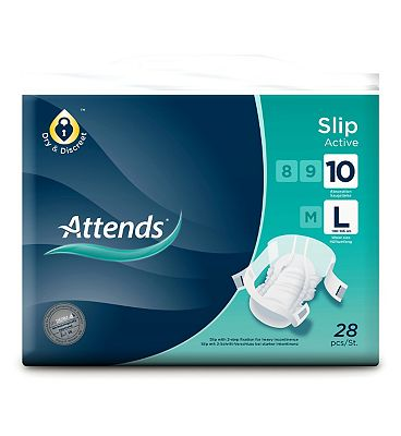 Attends Slip Active 10 Large - 28 slips