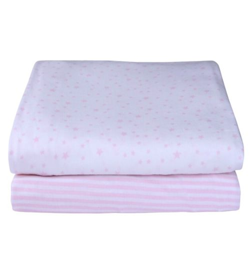 Clair de Lune Pack Of 2 Printed Pram/Crib Sheets - Pink 40 x 90