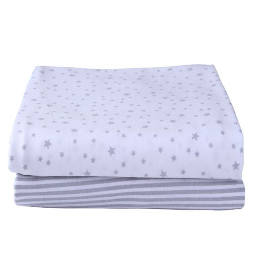 Clair de Lune Pack Of 2 Printed Cot Sheets - Grey