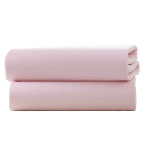 2 Pack Fitted Cotton Cot Sheets Pink