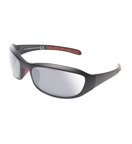 Boots Active Black and Red Rubber Sports Wrap Sunglasses