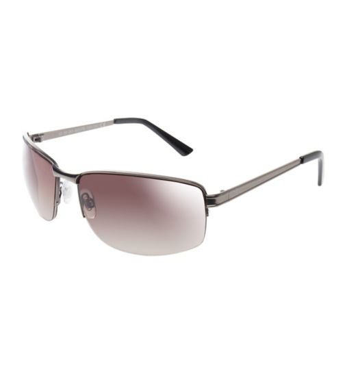 Boots Mens Semi-Rimless Gunmetal Sunglasses with Brown Lenses