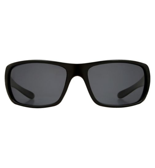 Boots Polarised Mens Black Sports Wrap Sunglasses
