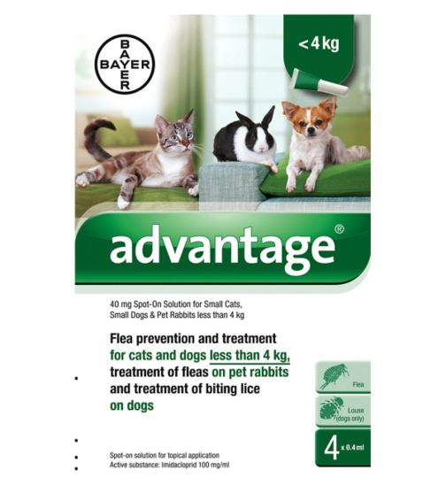 Advantage Flea prevention and treatment for small cats, small dogs and pet rabbits less than 4kg  - 40mg spot-on solution