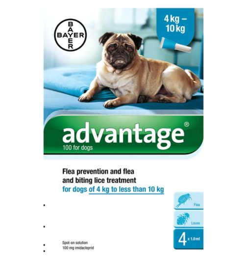 Advantage flea prevention and flea and biting lice treatment for dogs of 4 kg to less than 10 kg - 4 x 1.0ml spot-on solution