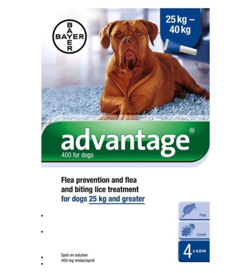 Advantage flea prevention and flea and biting lice treatment for dogs 25 kg and greater - 4 x 4.0ml spot-on solution