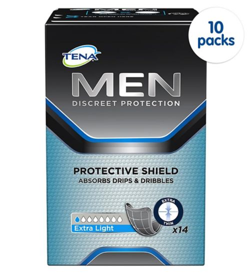 TENA Men Discreet Protection Protective Shield Extra Light - 14 pack;TENA Men Discreet Protection Protective Shield Extra Light - 140 pack (10 x 14);Tena Men       protective     shield 14s