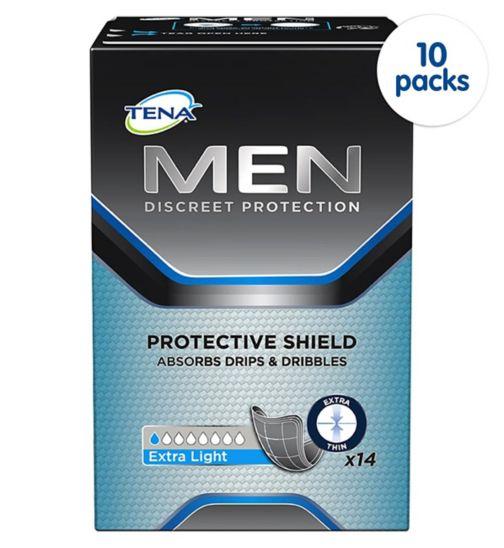 TENA Men Discreet Protection Protective Shield Extra Light - 14 pack;TENA Men Discreet Protection Protective Shield Extra Light - 140 pack (10 x 14);Tena Men       protective     shield 14s