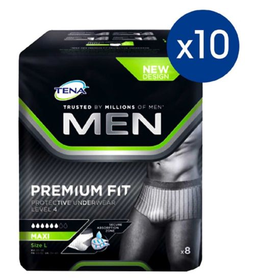 Tena Men       protective     underwear;Tena Men Premium Fit Pants Plus large - 8 pants;Tena Men Premium Fit Pants Plus large - 80 Pants (10 x 8)