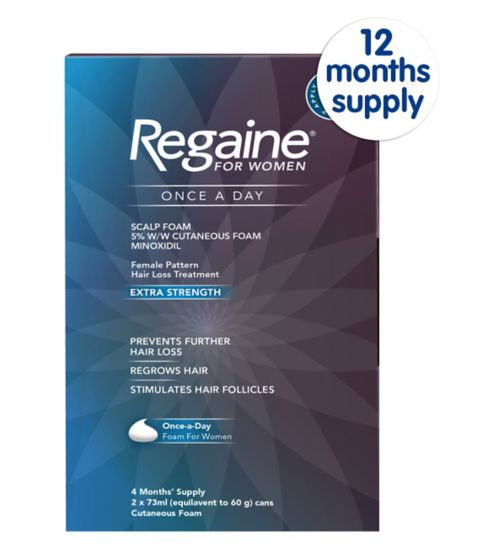 Regaine for Women Once a Day Scalp Foam 5% w/w Cutaneous Foam - 12 Months' Supply