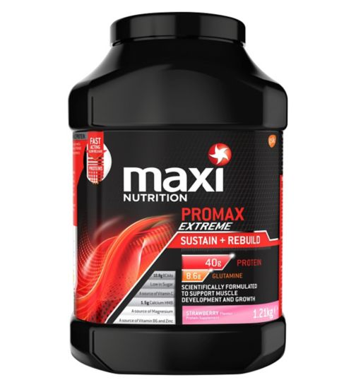 MaxiNutrition Promax Extreme Sustain + Rebuild Strawberry Flavour 1.21kg)