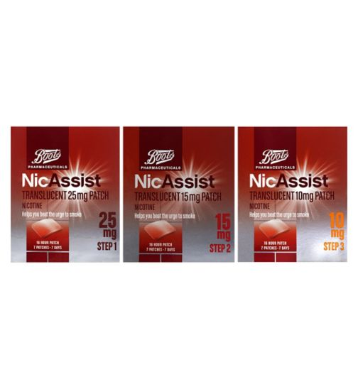 Boots NicAssist Translucent 25mg Patch Step 1 - 7 Patches;Boots Nicassisttranslucent    pth 15mg 7;Boots Pharmaceuticals NicAssist Translucent 10mg Patch Nicotine 16 hour 7 patches;Boots Pharmaceuticals NicAssist Translucent 10mg Patch Step 3 (7 Patches);Boots Pharmaceuticals NicAssist Translucent 15mg Patch Step 2 (7 Patches);Boots Pharmaceuticals NicAssist Translucent 25mg Patch Step 1 (7 Patches);Nicassist Stop Smoking Pack - 1 -3 Steps